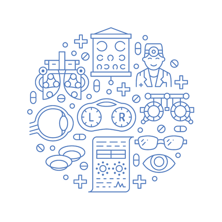 Oftalmologia, portiere del cerchio di assistenza sanitaria degli occhi con icone di linea. Attrezzatura per optometria, lenti a contatto, occhiali da vista, medico, orb. Segni dell'opuscolo blu di correzione della vista per la clinica oculista.