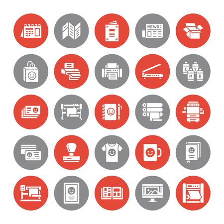 Impression d'icônes de glyphe plat de maison. Équipement d'imprimerie - imprimante, scanner, machine offset, traceur, brochure, tampon en caoutchouc. Signes de silhouette pour le bureau de polygraphie, typographie.