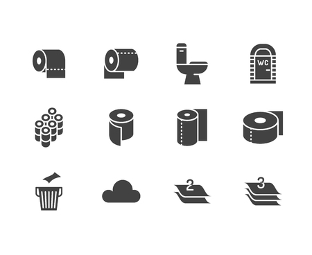 Toilet paper roll, towel flat glyph icons. Hygiene vector illustrations, mobile wc, restroom, tree layered napkin. Signs for household goods store. Solid silhouette pixel perfect 64x64.