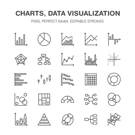 Chart types flat line icons. Linear graph, column, pie diagram, financial report vector illustrations, infographic. Thin signs business statistic, data analysis. Pixel perfect 64x64. Editable Strokes. Imagens