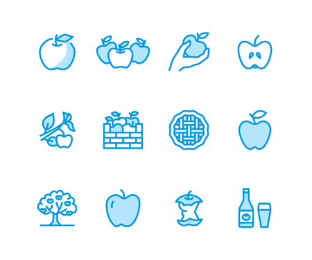 Apples flat line icons. Apple picking, autumn harvest festival, craft fruit cider vector illustrations. Thin signs for organic food store. Pixel perfect 48x48. Banque d'images