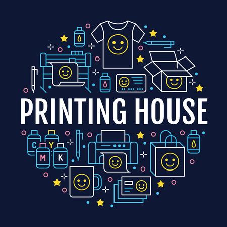 Plakat koło drukarni z ikonami linii płaskiej. Wyposażenie drukarni - drukarka, skaner, maszyna offsetowa, ploter, broszura, cmyk, pieczątka. Znaki biurowe poligraficzne, typografia.