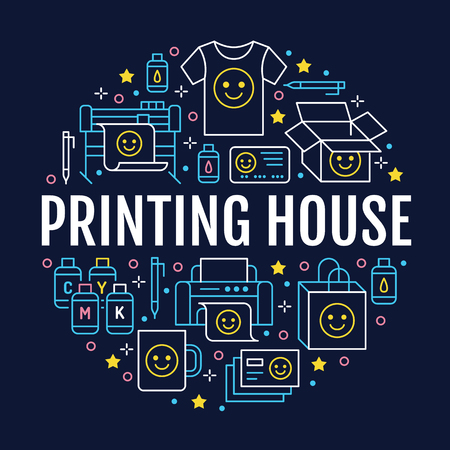 Printing house circle poster with flat line icons. Print shop equipment - printer, scanner, offset machine, plotter, brochure, cmyk, rubber stamp. Polygraphy office signs, typography. Иллюстрация