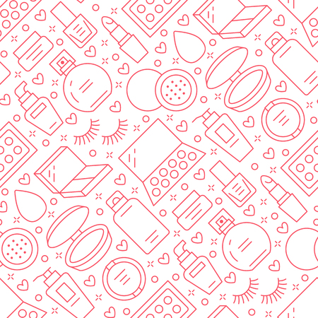 Makeup beauty care red seamless pattern with flat line icons. Cosmetics illustrations of lipstick, mascara powder, eyeshadows, foundation nail polish. Cute pink repeated wallpaper signs make up store.