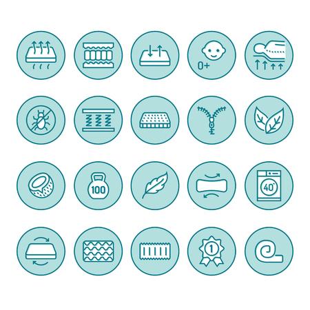 Symbole für flache Linien der orthopädischen Matratze. Eigenschaften der Matratzen - Anti-Staubmilbe, Wirbelsäulenstütze, abwaschbarer Bezug, atmungsaktiv, Memory-Schaum, Bettzeugabbildungen.