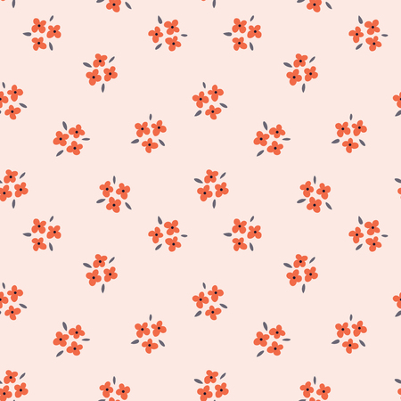 Floral seamless pattern with red flowers on pink background. Repeated light backdrop, soft textile texture. Bright abstract nature wallpaper.