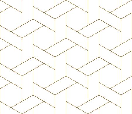 Patrón transparente de vector geométrico simple moderno con textura de línea dorada sobre fondo blanco. Papel tapiz abstracto claro, telón de fondo de azulejos brillantes. Ilustración de vector