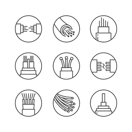 Iconos vectoriales de línea plana de fibra óptica. Conexión de red, cable de computadora, bobina de cable, transferencia de datos. Señales finas en forma de círculo para tienda de electrónica, servicios de internet. Ilustración de vector