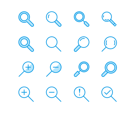 Magnifying glass flat line vector icons. Search, zoom in and out icon. Thin signs for user interface.
