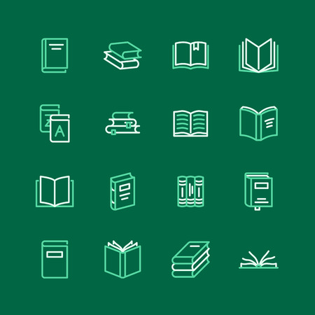 Books flat line icons. Reading, library, literature education vector illustrations. Thin signs for e-book store, textbook, encyclopedia.