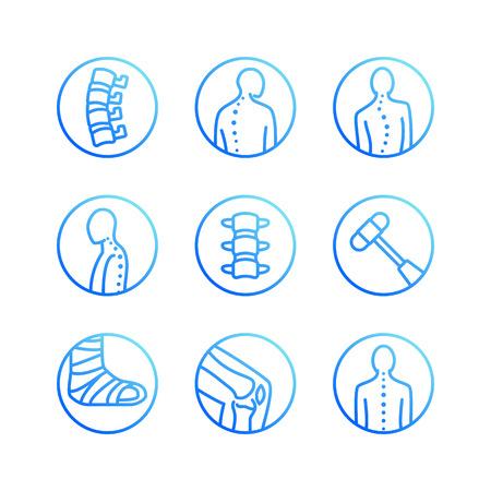 Columna vertebral, iconos de línea plana de la columna vertebral. Clínica de ortopedia, rehabilitación médica, traumatismo de espalda, fractura de hueso, corrección de postura, escoliosis. Signos de círculo de hospital de atención médica, logotipo vectorial. Logos