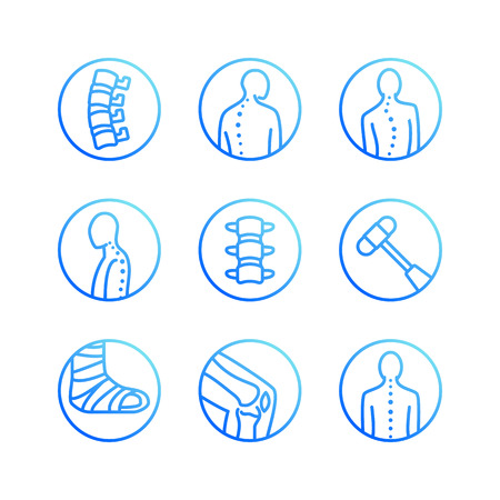 Spine, backbone flat line icons. Orthopedics clinic, medical rehab, back trauma, broken bone, posture correction scoliosis. Health care hospital circle signs, vector logo.