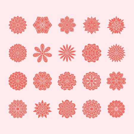Doodle flowers set, pink red color. Beautiful floral design elements for wedding card. Zentangle backdrop, summer flower drawing. Cute silhouette illustration. Imagens - 106391989