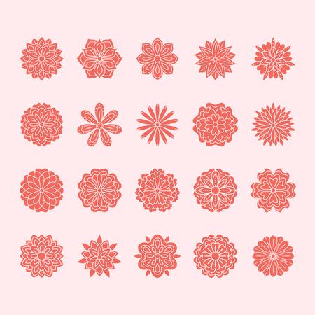 Doodle flowers set, pink red color. Beautiful floral design elements for wedding card. Zentangle backdrop, summer flower drawing. Cute silhouette illustration. Ilustração