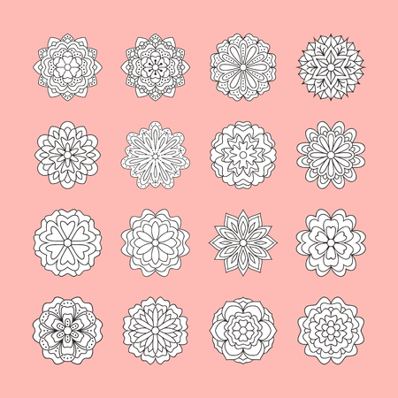 Doodle white flowers set on pink background. Beautiful floral design elements for wedding card. Zentangle backdrop, summer flower drawing. Cute silhouette illustration.