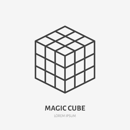 Icono de línea plana de cubo mágico de Rubik. Ilustración de vector de juego de rompecabezas. Firmar para tienda de niños.