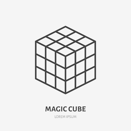 Rubik magic cube flat line icon. Puzzle game vector illustration. Sign for kids shop.