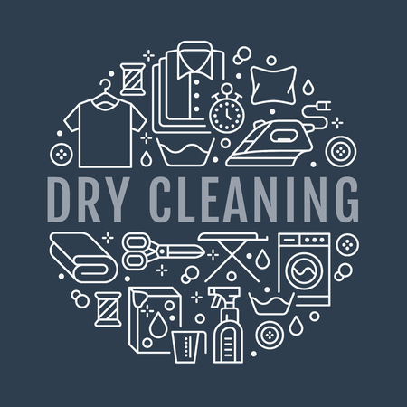 Dry cleaning, banner illustration with flat line icons. Laundry service equipment, washing machine, clothing repair, garment steaming. Circle template thin linear signs launderette poster. Illustration