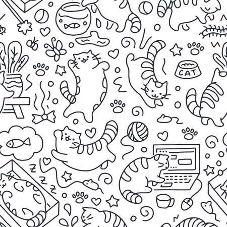 Seamless pattern with cute cats line drawing. Playful kitten background, cat sleeping in box, play with computer, aquarium. Funny pet hand-drawn illustration in doodle style for kids fabric. Illustration