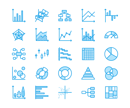 Chart types flat line icons. Linear graph, column, pie donut diagram, financial report illustrations, infographic. Thin signs business statistic, data analysis. Pixel perfect 64x64. Editable Strokes. Stock Photo
