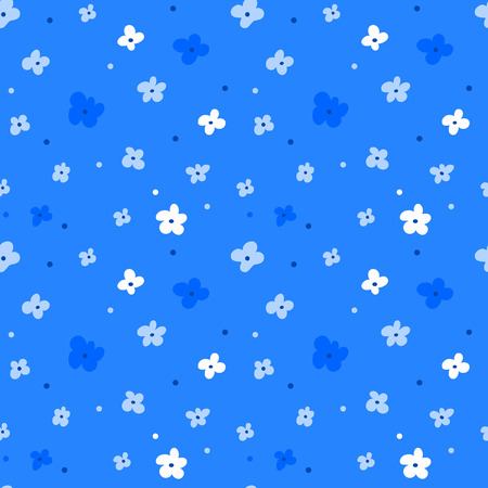 Floral seamless pattern with white flowers on blue background. Repeated backdrop, textile texture. Dark abstract nature wallpaper.
