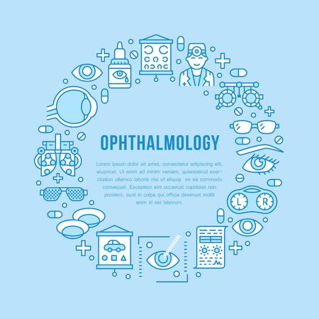 Augenheilkunde, Augengesundheitskreisportier mit Linienikonen. Optometriegeräte, Kontaktlinsen, Brillen, Arzt. Zeichen der Sehkorrekturbroschüre für die Augenklinik.