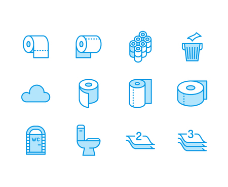 Toilet paper roll, towel flat line icons. Hygiene illustrations, mobile wc, restroom, tree layered napkin. Thin signs for household goods store.
