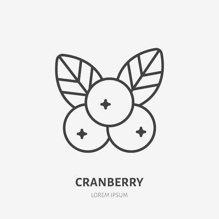Cranberry flat line icon, forest berry sign, healthy food logo. Illustration of cowberry, lingonberry for natiral food store.