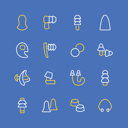 Earplugs flat line icons. Healthy sleep without snore, ear safety illustrations. Thin signs for medical store. Pixel perfect 48x48. Editable Strokes. Ilustracja