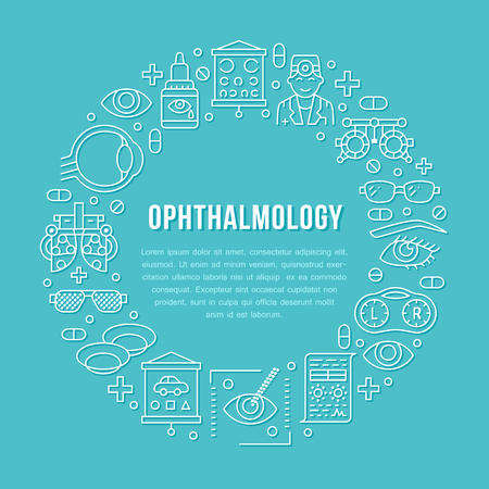 Ophthalmology, eyes health care circle porter with line icons. Optometry equipment, contact lenses, eye glasses, doctor. Vision correction brochure signs for oculist clinic.