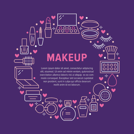 Makeup beauty care circle poster with flat line icons. Cosmetics illustrations of lipstick, mascara, powder, eyeshadows, nail polish, shampoo. Cute brochure with thin signs for make up store. Illustration