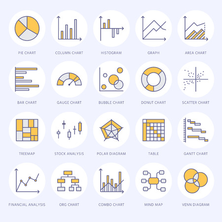 Chart types flat line icons. Linear graph, column, pie donut diagram, financial report illustrations, infographic. Thin signs for business statistic, data analysis. Illustration