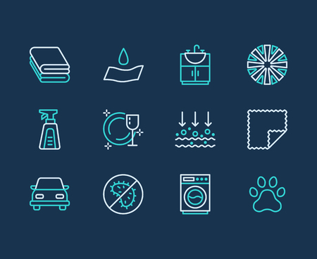 Microfiber doek eigenschappen platte lijn pictogrammen. Absorberend materiaal, stofreiniging, wasbare, antibacteriële, schone wasmiddelillustraties. Dunne borden voor servetpakket.