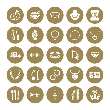 Jewelry flat glyph icons, jewellery store signs. Jewels accessories - gold engagement rings, gem earrings, silver chain, necklaces, brilliants. Solid silhouette for fashion store. Pixel perfect 64x64.