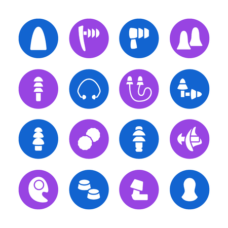 Earplugs flat glyph icons. Healthy sleep without snore, ear safety illustrations. Signs for medical store. Pixel perfect 48x48.