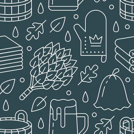 Sauna, steam bath room seamless pattern with line icons. Bathroom equipment birch, oak broom, bucket, beer. Finnish, russian banya. Health care background for spa center.