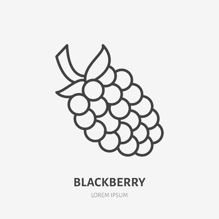 Blackberry flat line icon, forest berry sign, healthy food logo. Illustration of dewberry, bramble for natural food store.