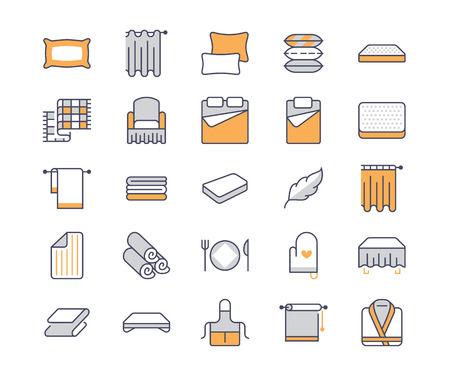 Beddengoed platte lijn pictogrammen. Orthopedische matrassen, slaapkamerlinnen, kussens, lakenset, deken- en dekbedillustraties. Dunne borden voor interieurwinkel.