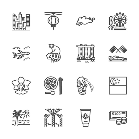 Singapore flat line icons. Tourism landmarks - ferris wheel, marina bay, skyscrapers cityscape, orchid, zoo vector illustrations. Thin signs for travel agency. Pixel perfect 64x64. Editable Strokes.