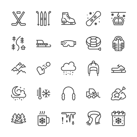 Winter sports line icons. Cold weather outdoor activities - skiing, hockey, snowboard, snowball game, snow removal vector illustrations. Signs for equipment store. Pixel perfect 64x64 Editable Strokes Reklamní fotografie - 109815657