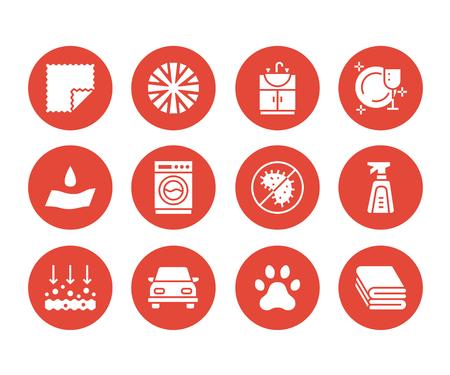 Eigenschaften von Mikrofasertüchern mit flachen Glyphen. Absorbierendes Material, Staubreinigung, waschbare, antibakterielle, saubere Waschmittelabbildungen. Schilder für Serviettenpaket. Feste Silhouette Pixel perfekt 64x64. Vektorgrafik