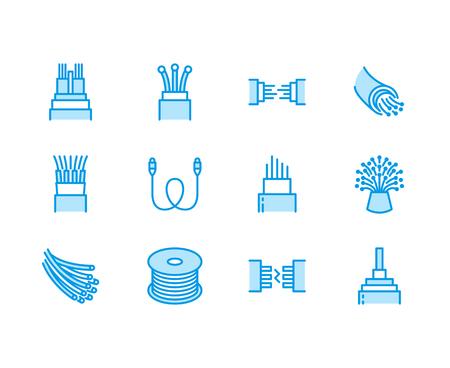 Icônes de ligne plate de propriétés de tissu en microfibre. Matériau absorbant, nettoyage de la poussière, lavable, antibactérien, illustrations détergentes propres. Signes minces pour le paquet de serviettes. Vecteurs