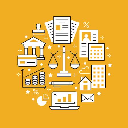 Icônes de ligne plate d'affiche de cercle de comptabilité financière. Concept de brochure de comptabilité, optimisation fiscale, comptable d'entreprise, paie, crédit immobilier. Comptabilité, vecteur de finances signe des services juridiques.