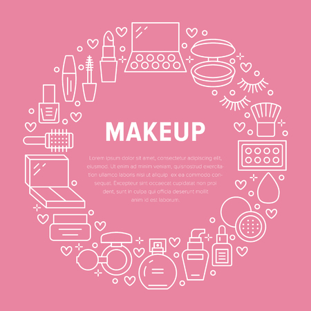 Makeup beauty care pink circle poster with flat line icons. Cosmetics illustrations of lipstick, mascara, powder, eyeshadows, nail polish, shampoo. Cute brochure with thin signs for make up store.