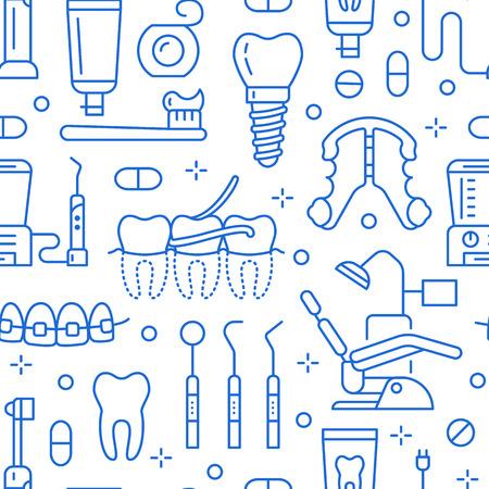 Dentista, modello senza cuciture blu di ortodonzia con le icone di linea. Cure odontoiatriche, apparecchiature mediche, apparecchi ortodontici, protesi dentarie, filo interdentale, trattamento della carie, dentifricio. Sfondo di assistenza sanitaria per clinica odontoiatrica. Vettoriali