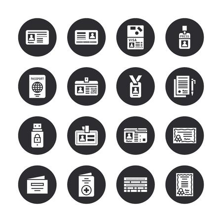 Documents, icônes de glyphe plat vecteur d'identité. Cartes d'identité, passeport, passe d'étudiant d'accès presse, visa, certificat de migration, illustration de contrat juridique symbolique. Signes de silhouette solide pixel parfait 64x64.
