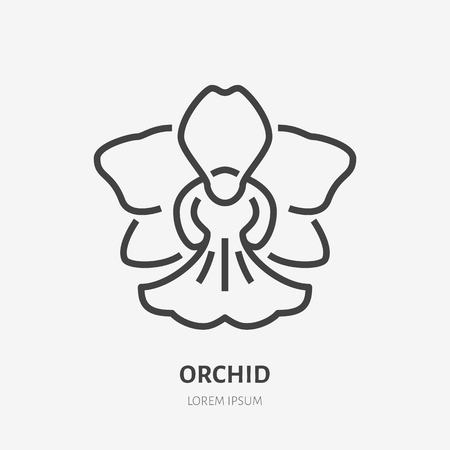 Orchid flat line icon. Vector sign of blossom, tropical flower outline logo.