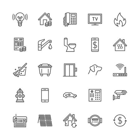 Icônes de ligne plate de services publics. Reçu de loyer, électricité eau, gaz, chauffage domestique, vidéosurveillance, révision, illustrations vectorielles de déchets. Facture de services publics de signes minces. Pixel parfait 64x64. Traits modifiables