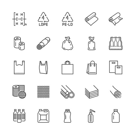 Low density polyethylene flat line icons. LDPE products - food package film, thermoresistant paper, garbage bag, plastic bottle, bubble wrap vector illustrations. Pixel perfect 64x64. Editable Strokes Ilustração