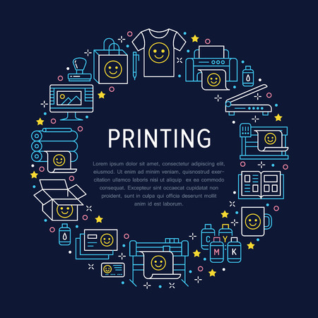 Printing house circle poster with flat line icons. Print shop equipment - printer, scanner, offset machine, plotter, brochure, rubber stamp. Polygraphy office signs, typography. Vektoros illusztráció